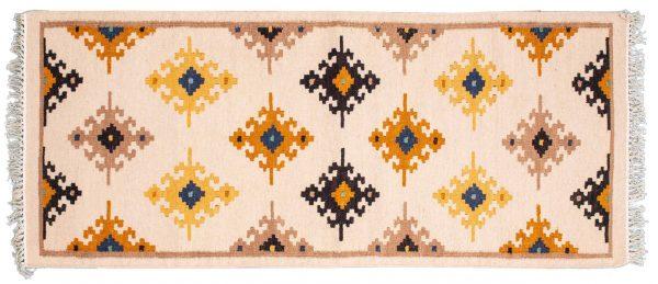 Tappeto passatoia Kilim Indiano 184x77cm visione dall'alto