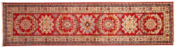Tappeto Passatoia Afgano Kazak Gold 319x80cm visione dall'alto