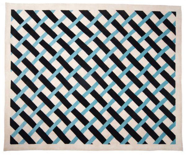 Anteprima Tappeto Nepal Network 302×252 motivo geometrico