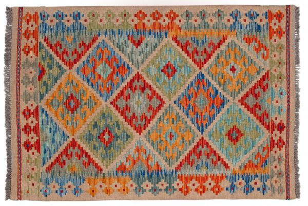 Tappeto Kilim Afgano 124x84cm con motivi geometrici