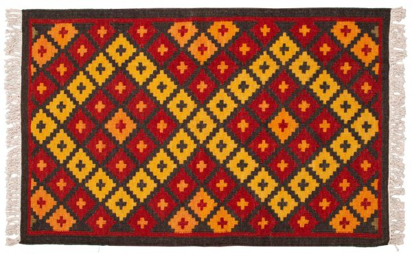Tappeto Indiano Kilim 150x95cm scacchi rossi e gialli visione dall'alto