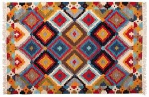Tappeto Indiano Kilim 183x124cm versione frontale con scacchi colorati