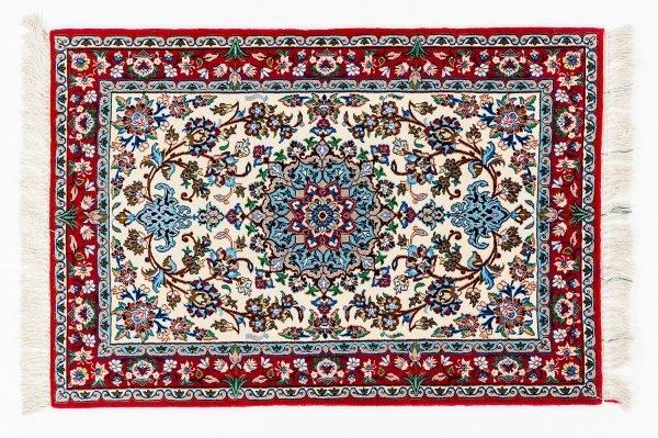 Tappeto persiano Isfahan. 103X79 visione dall'alto