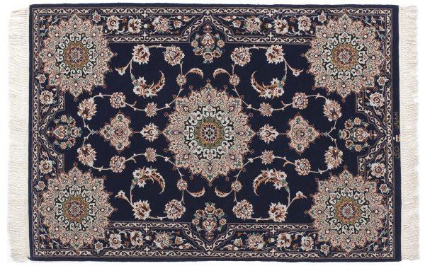 Tappeto Persiano Esfahan. 150X100cm colore blu visione dall'alto
