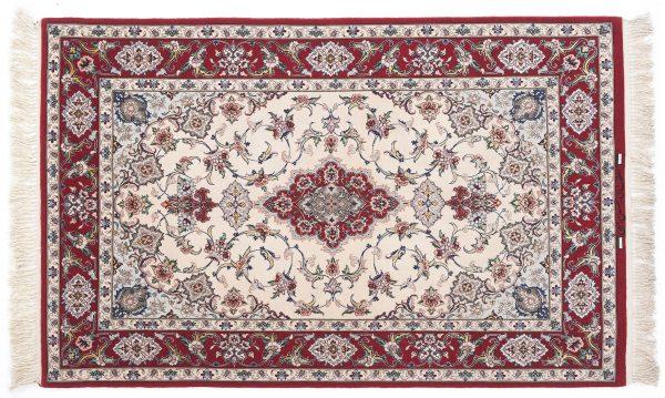 Tappeto Persiano Esfahan. 150X100 colore rosso visione dall'alto