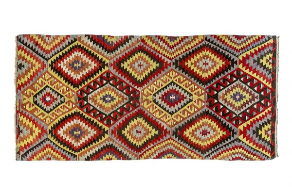 Tappeto Persiano Kilim. 370X178 visione dall'alto