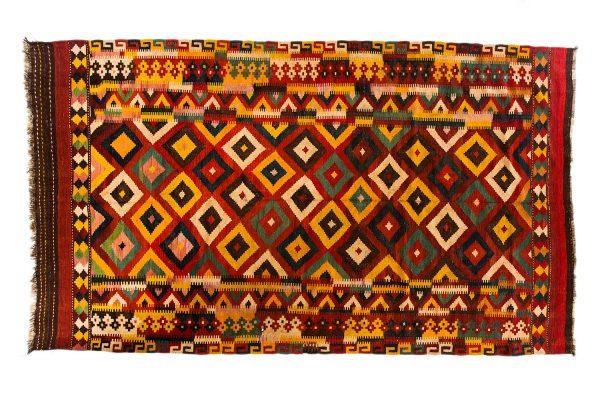 Tappeto Persiano Kilim Senneh. 385 x 222 visione dall'alto