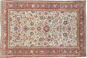 Tappeto Persiano Kashan Seta Antico 206 x 135 visione dall'alto