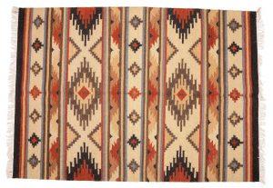 Tappeto Kilim beige e marrone Indiano 180 x 120 visione dall'alto