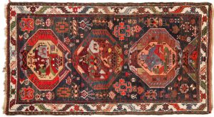 Tappeto Caucasico Kazak 190 x 105cm visione dall'alto